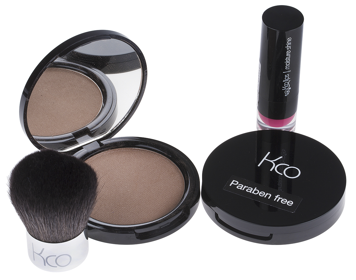 Two Kco Compacts, Lip Moisturiser & Brush
